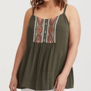 Torrid Embroidered Gauze Tank Cami